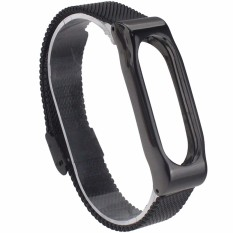 MiJobs Replaceable Stainless Steel Wrist Strap for Xiaomi Mi Band 2 Smart Bracelet - Black