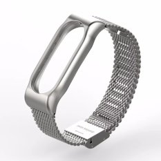 Toko Jual Mijobs Replaceable Stainless Steel Wrist Strap For Xiaomi Mi Band 2 Smart Bracelet Silver