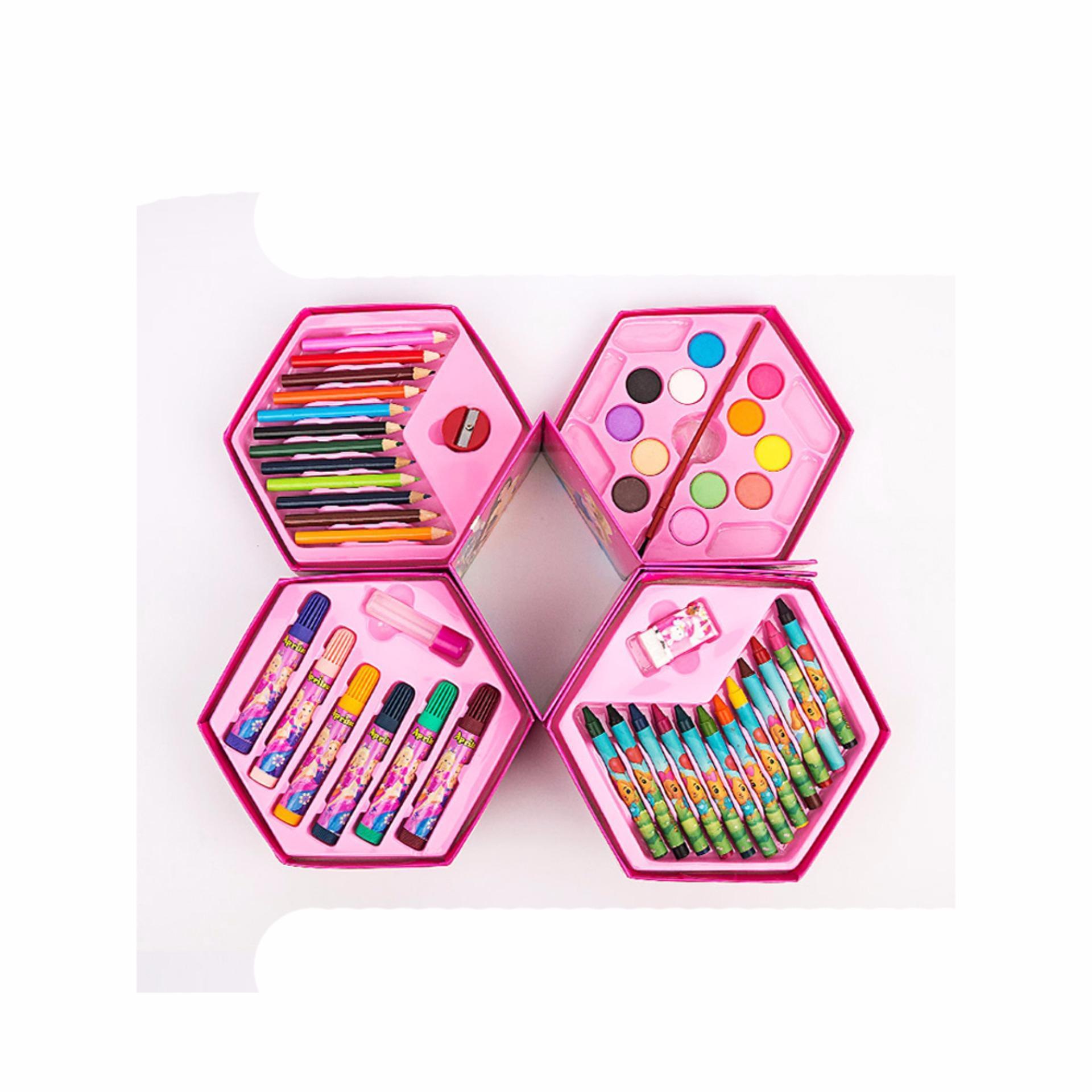 Mimosifolia Cat air pena anak-anak lukisan Stationery Set kotak hadiah krayon berwarna pensil Anak Sekolah Seni Stationery Set 46PCS Pink - intl
