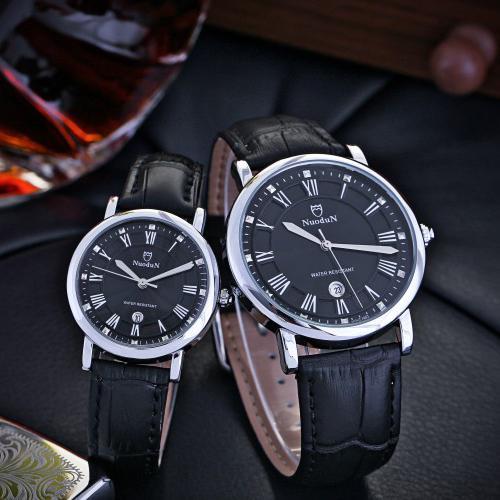 Mingjue NUODUN Merek Kulit Watches Fashion Kepribadian Korea Diamond Berlian Kalender Kuarsa Sepasang Jam Tangan (