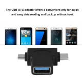 Mini 2 In 1 Micro Usb Usb 3 1 Type C Male To Usb 3 Female Otg Converter Adapter Intl Asli