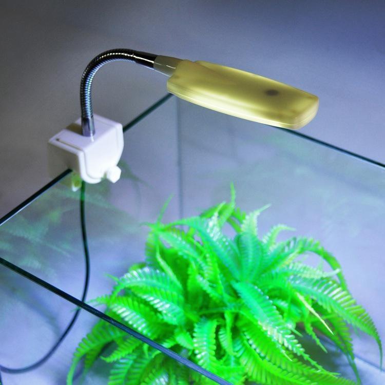 MINI Aquarium Fish Tank LED Light Distorted Desk Lamp Flexible White Blue - intl