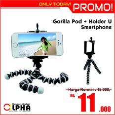 Mini Flexible Tripod Gorilla Pod Octopus Flexible + Holder U Small Medium Large- Kecil Sedang