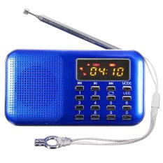 Harga Mini Portabel Speaker Radio Fm Digital Led Usb Micro Sd Kartu Tf Mp3 Pemutar Musik Biru Seken