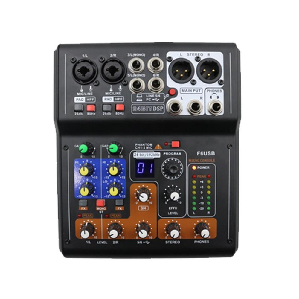 Mini Professional 6 Channel Live Studio Audio Mixer Mixing Phantom Console USB - intl