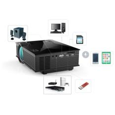 Mini Proyektor UC46 Portable Multimedia Home Cinema Theater 1200 Lumens LED Proyeksi dengan USB VGA HDMI SD Card AV WiFi untuk Pesta, Home Entertainment, 20000 Jam LED Hidup dengan Remote-Intl