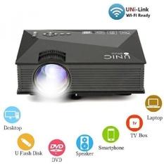 Mini Proyektor UC46 Portable Multimedia Home Cinema Theater 1200 Lumens LED Proyeksi dengan USB VGA HDMI SD Card AV WiFi ForParty. Rumah Entertainment.20000 Jam LED Hidup dengan Remote-Intl