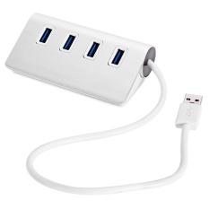 Mobil Kecil USB 3.0 Beberapa 4 Port HUB Adaptor Daya AC (Warna: Perak)-Intl