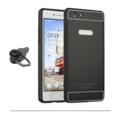 Mirror Metal Frame with Bear ring phone case for Oppo R1 (R829T)(Black) - intl