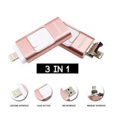 Mitps I-Flash Drive 32G Flashdisk 3 In 1 Pen Drive OTG Flash Drive USB untuk iPhone 6/6 Plus/7/ iPad Memory Stick (Mawar Emas) -Intl