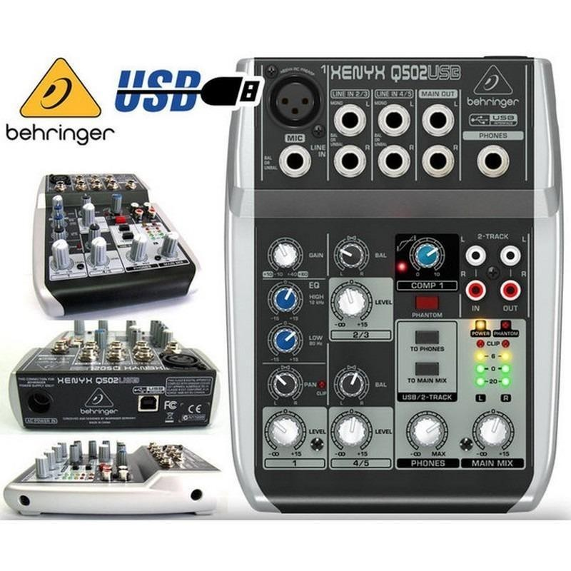 Mixer Behringer XENYX Q502 USB ( Q 502 USB) with Audio interface / soundcard