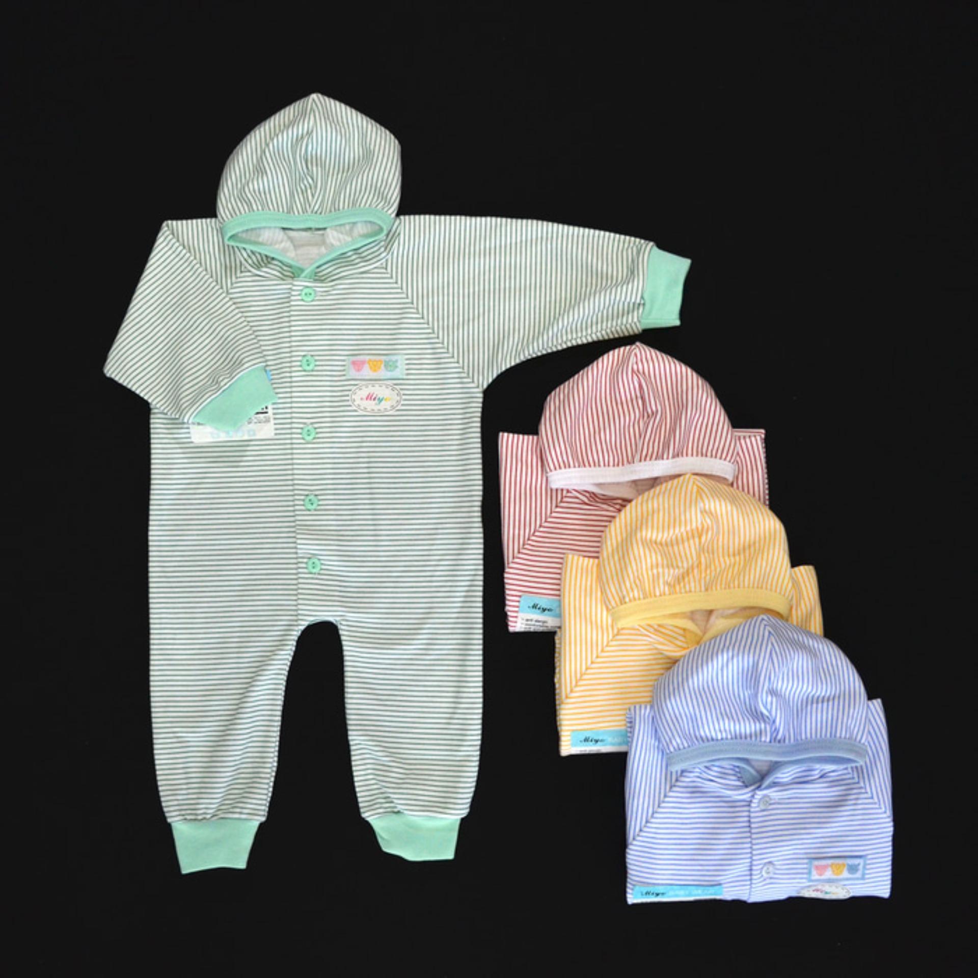 MIYO Baju Kodok Panjang Topi Buka Kaki Bayi/Baby Salur Newborn (0-3M), baju bayi murah