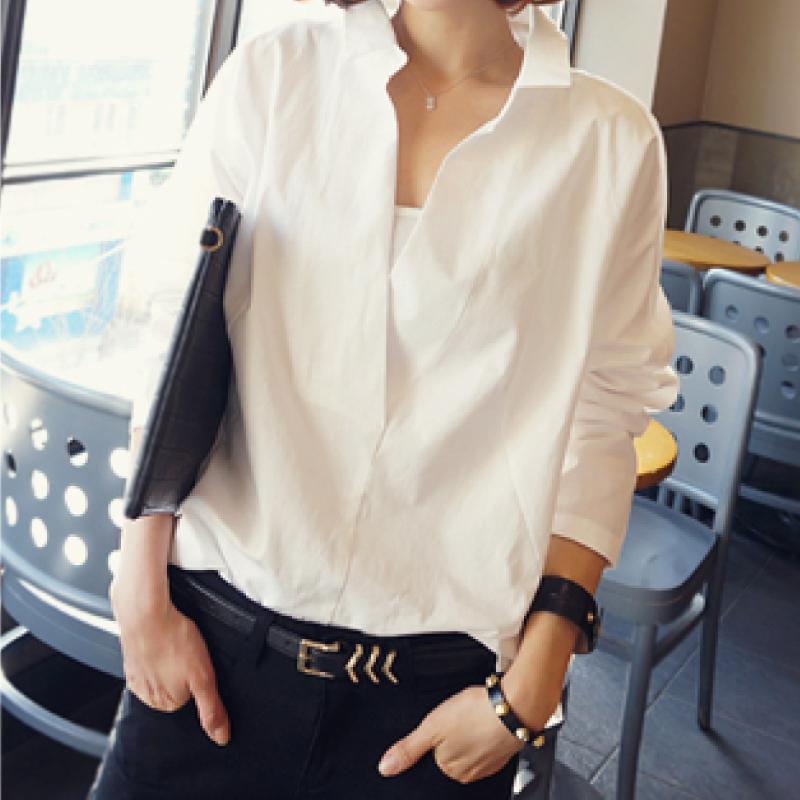 Spesifikasi Mm Korea Lengan Lengan Panjang Wanita Di Bagian Panjang Kemeja Putih Kemeja Putih Murah Berkualitas