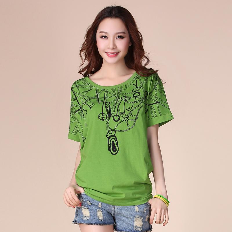 mm ukuran besar baju wanita adik perempuan gemuk pakaian musim panas Gaya Korea pasang Lengan Pendek Kaos baju kelelawar longgar lengan pendek baju kaos pakian Atasan Wanita