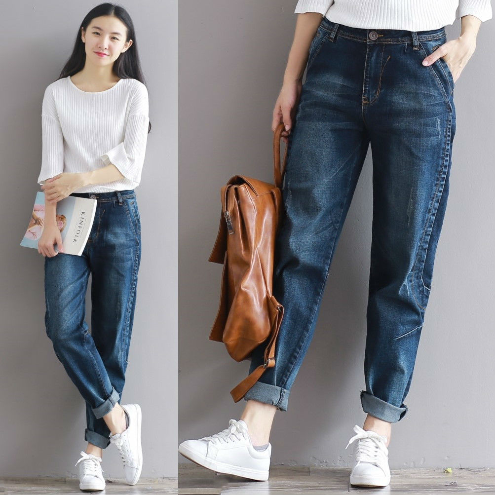 Katalog Mm Korea Longgar Adalah Celana Jeans Tipis Biru Tua Terbaru