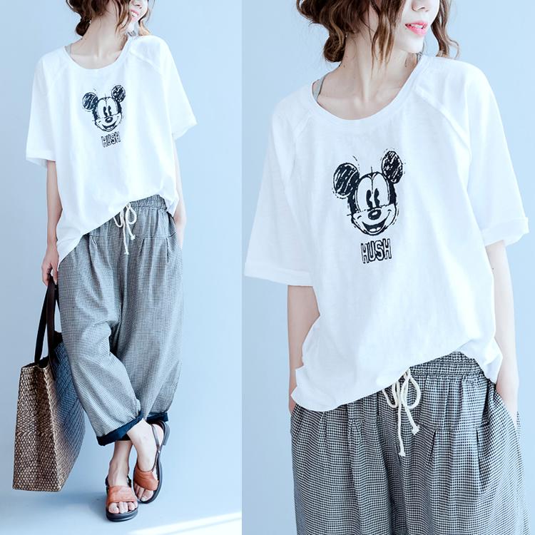 MM Sastra Perempuan Ukuran Plus Atasan T-shirt (Putih) baju wanita