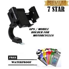 Mobile Holder Motor Untuk HP / GPS Phone Holder Jepit untuk Spion Motor / Phone Holder For Universal Motorcycles - Hitam + Free Waterproof Bag