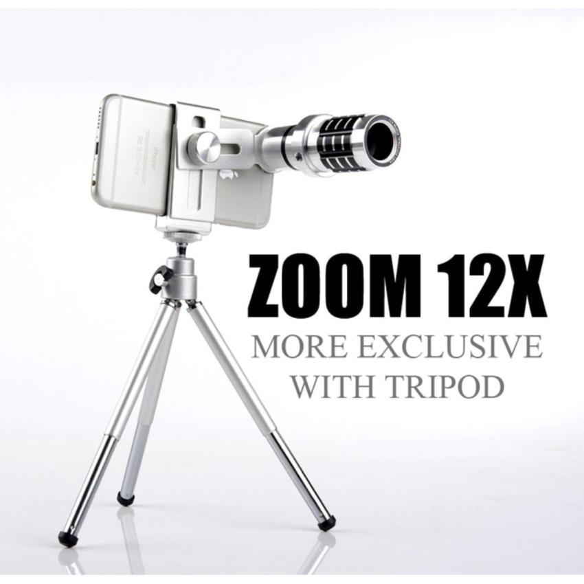 Dimana Beli Lensa Telezoom Mobile Phone Lens 12X Zoom Telescope With Tripod Bonus Holder Mall Indo