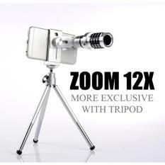 Spesifikasi Lensa Telezoom Mobile Phone Lens 12X Zoom Telescope With Tripod Bonus Holder Terbaru