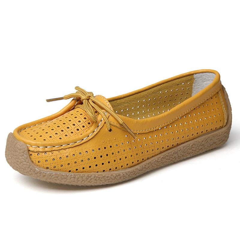 Sepatu Kulit Teplek Mama Kulit Musim Semi atau Musim Panas Sepatu Wanita Model Crocs Bawah Tendon (Kuning)