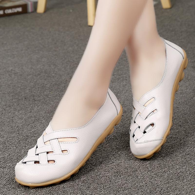 Harga Termurah Model Crocs Kulit Musim Semi Dan Musim Panas Bernapas Sepatu Kulit Teplek Mama Merah Muda Sepatu Wanita Flat Shoes