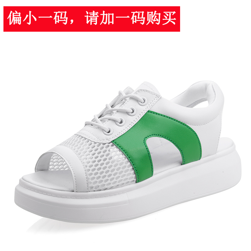 Model Crocs Sol Tebal Sepatu Sol Tebal Datar Sandal Summer Pantai Sandal Summer (Putih Hijau)
