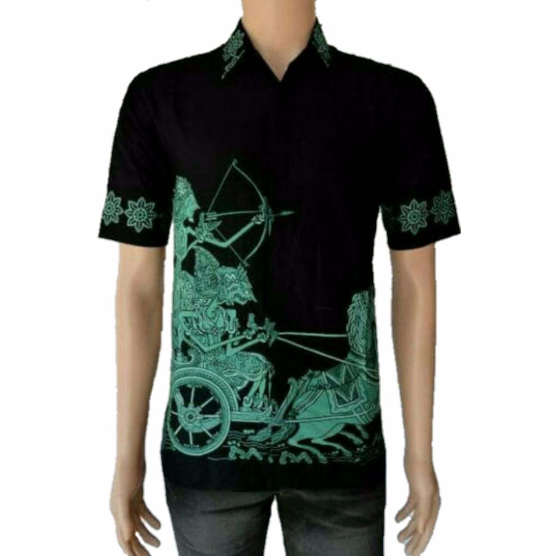 Model Kemeja Batik Pria Kemeja Batik Pekalongan Kemeja Batik Modern Motif Arjuna Hijau