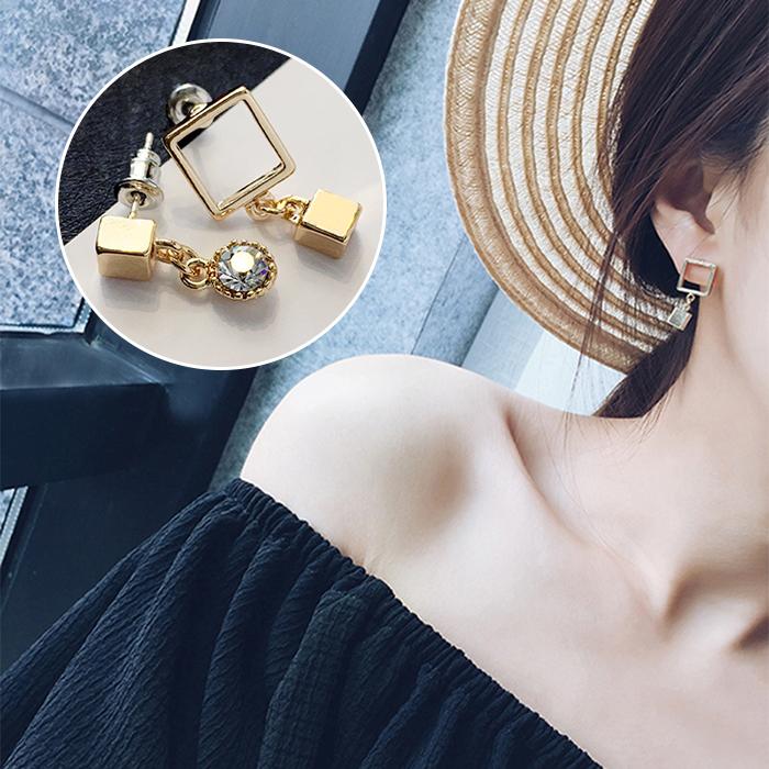 Model Korea Anting-anting Sederhana Kristal Elegan Anting Mutiara Ran