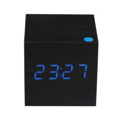 Modern Kayu Digital Jam Weker dengan Thermometer (Hitam)