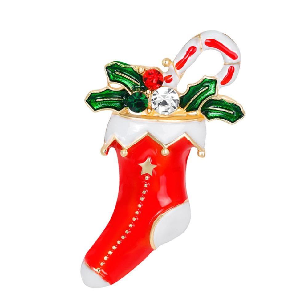 Modis Unik Kartun Natal Boots Breastpin Elegan Perhiasan Halus Bros Natal Hadiah untuk Wanita Perempuan Warna: AL190-A-Intl