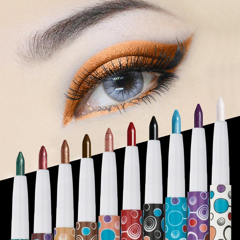 Moob 10 Pcs Warna Stick Pewarna Mata Tahan Air Tahan Lama Eyeliner Pen dari HUAMIANLI-Intl