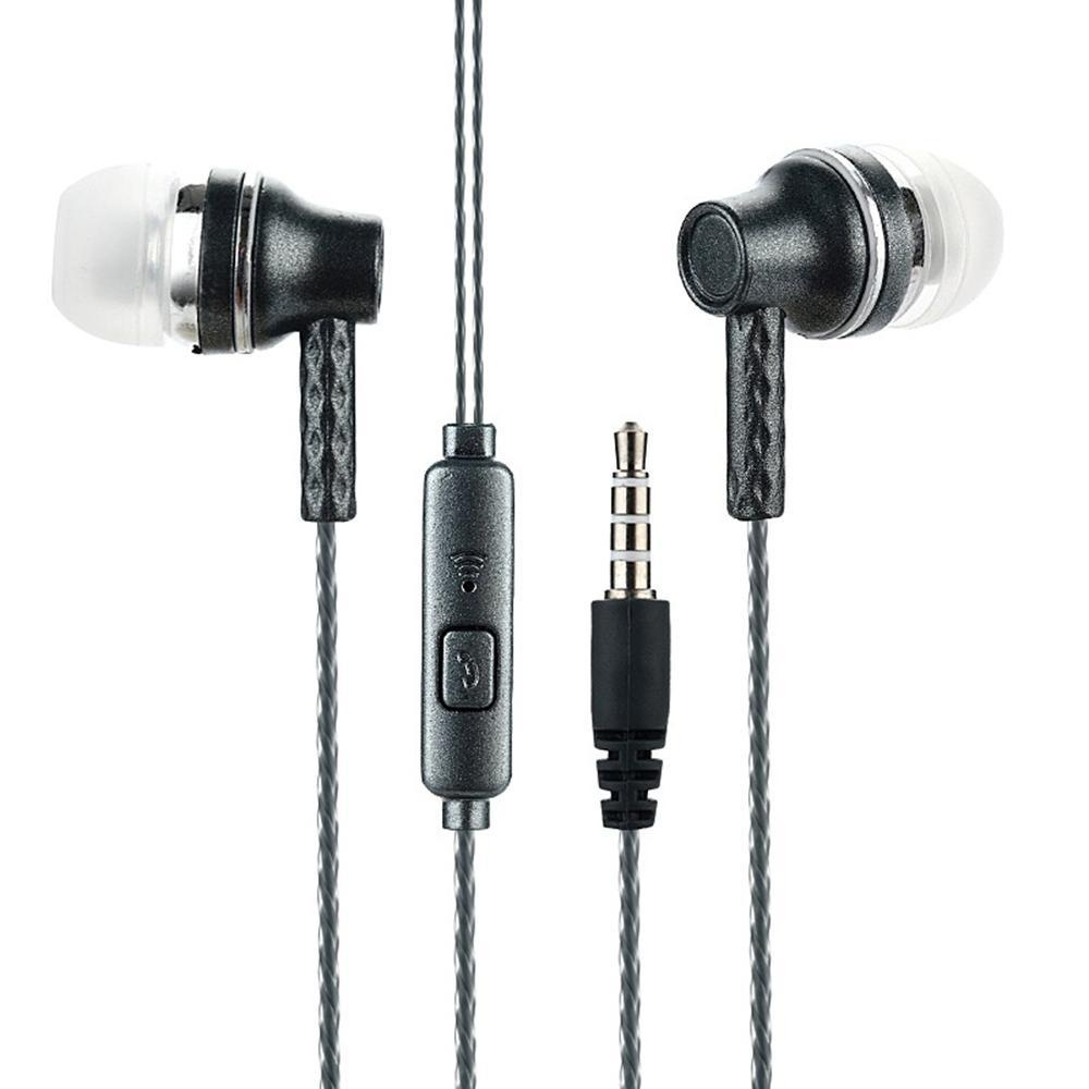 Moob Universal Wired 3.5mm Stereo Earbud Mengisolasi Dikepang Headphone Super Bass In-Ear Earphone
