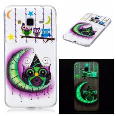 Moon Owl Noctilucent TPU Lembut Kantong Gas Belakang Case Cover untuk Samsung Galaxy J3 Case-Intl