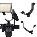 Jual Moonar Kamera Dslr Triple Mount Hot Sepatu V Bentuk Mount Braket Aluminium For Led Video Lampu Hitam Moonar Grosir
