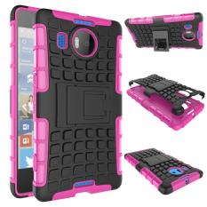 Mooncase Case For Microsoft Nokia Lumia 950 XL Detachable 2 in 1 Shockproof Tough Rugged Prevent Slipping Dual-Layer Case Cover With Built-in Kickstand Hotpink