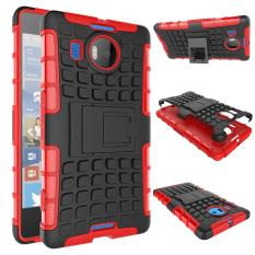 Mooncase Case For Microsoft Nokia Lumia 950 XL Detachable 2 in 1 Shockproof Tough Rugged Prevent Slipping Dual-Layer Case Cover With Built-in Kickstand Red