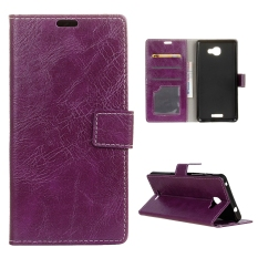 Moonmini Case for Alcatel OneTouch Flash Plus 2 Crazy Horse Pattern Leather Case Flip Stand Cover - Purple - intl