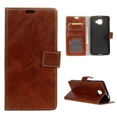 Moonmini Case for Alcatel OneTouch Idol 4S Crazy Horse Pattern Leather Case Flip Stand Cover - Brown - intl