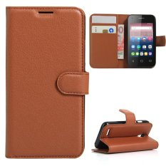 Moonmini Case untuk Alcatel OneTouch Pixi 4 3.5 Inch Case Dompet Stand Leather Case Flip Cover-Coklat-Internasional