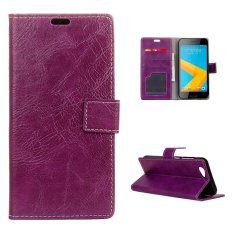 Moonmini Case untuk HTC One A9s Crazy Horse Pattern PU Leather Case-Ungu-Intl