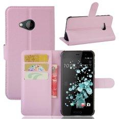 Moonmini Case untuk HTC U Play Case Dompet Kulit dengan Flip Stand Fungsi-Pink-Intl