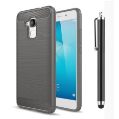 Moonmini Case untuk Huawei Honor 5C Case Tekstur Carbon Fiber Anti-Slip Case Soft Cover-Grey-Intl