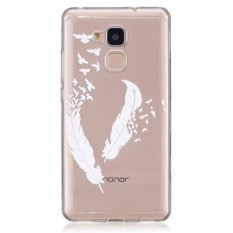 Moonmini Case for Huawei Honor 5C Slim Fit Soft TPU Clear Back Case Cover - White Feather - intl