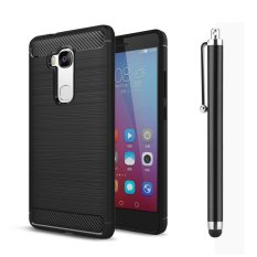 Moonmini Case untuk Huawei Honor 5X/Huawei Gr5 (5.5 Inch) Case Tekstur Carbon Fiber Anti-slip Case Soft Cover-hitam-Intl