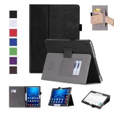 Moonmini Case Anda Huawei MediaPad M3 Lite 10.0 Kulit Case Lipat Penyangga Tali Tangan Elastis atau Pulpen Penahan Sarung- internasional