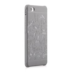 Moonmini Case for Huawei P8 Lite 3D Dragon Relief Soft Silicone Rubber Case - Light Grey