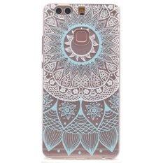 Moonmini Case untuk Huawei P9 PLUS Case Warna Warni Transparan Lembut Silicon Pelindung Belakang Case Cover-biru Bunga Pola-Intl