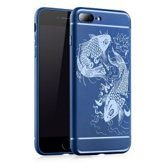 Moonmini Case untuk Iphone 7 Plus 3d Relief Carp Pola Sarung Lunak Silikon-Safir Biru-Intl