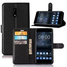 Ongkos Kirim Moonmini Kasus Penutup Untuk Nokia 6 Case Dompet Kulit With Flip Stand Fungsi Hitam Di Tiongkok