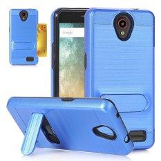 Moonmini Case untuk ZTE Avid Trio Z831 Case Kickstand Hybrid Dual Layer Back Case dengan Slot Kartu Cover-Sapphire Biru -Intl